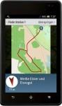 Ein Kompasspfeil zeigt einem die Richtung und Entfernung zur nächsten Station an.